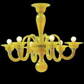 Limone - Murano glass chandelier 6 lights Liquid Yellow