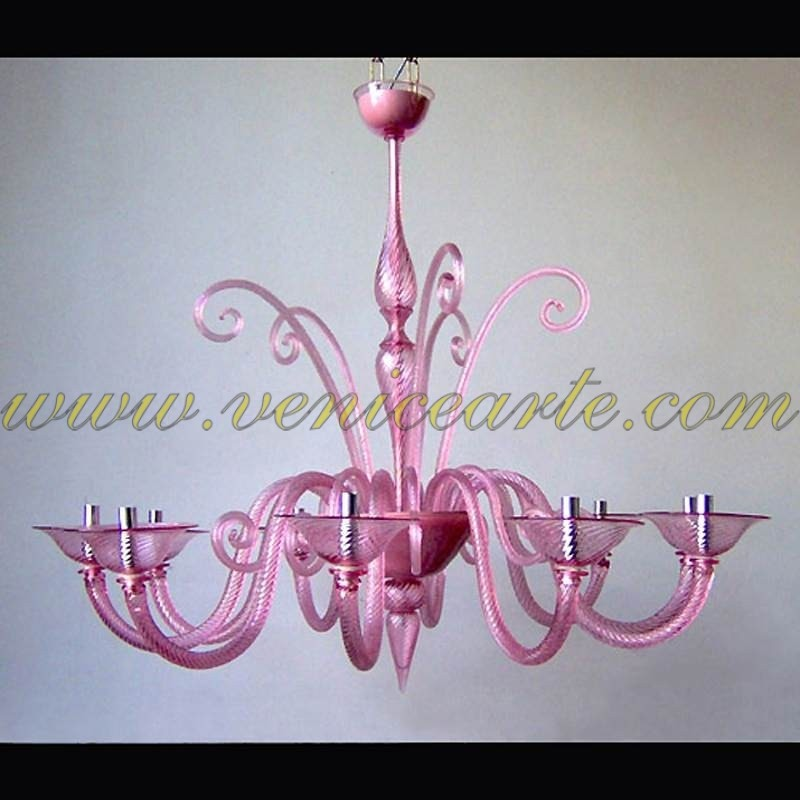 Pink panther murano glass chandelier pink aloadofball Images