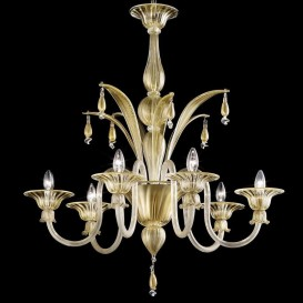 Barchessa - Murano glass chandelier 6 lights All Gold