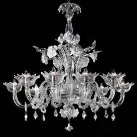 Snow White - Murano chandelier 8 lights Crystal White