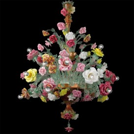 Murano glass chandelier Roseto multicolor