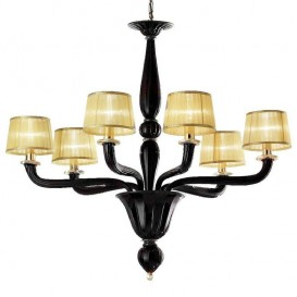 Accademia - Murano chandelier black with 6 lights