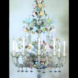 Murano glass chandelier Old Rezzonico Rubini 9 lights