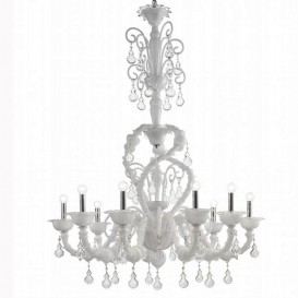 Murano glass chandelier Rezzonico Arabesque 9 lights White Crystal