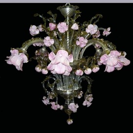 Rosebuds 8 lights - Murano glass chandelier
