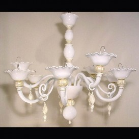 White pearls - Murano chandelier 8 lights