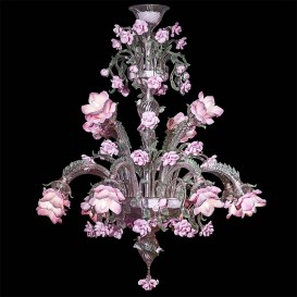 Garden of roses 12 lights - Murano chandelier