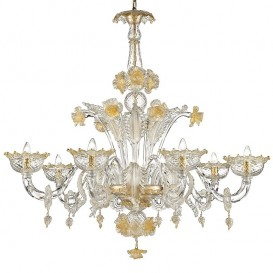 Snow White - Murano chandelier 8 lights Crystal Gold